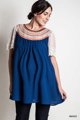 Tribal Neck Detailed Plus Maternity Top