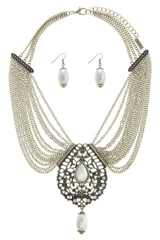 Filigree Faux Pearl Multi Chain Necklace Set