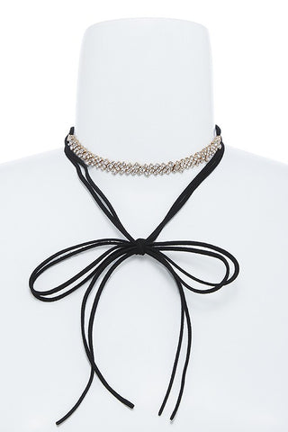 Crystal Lined Wrap Choker Necklace