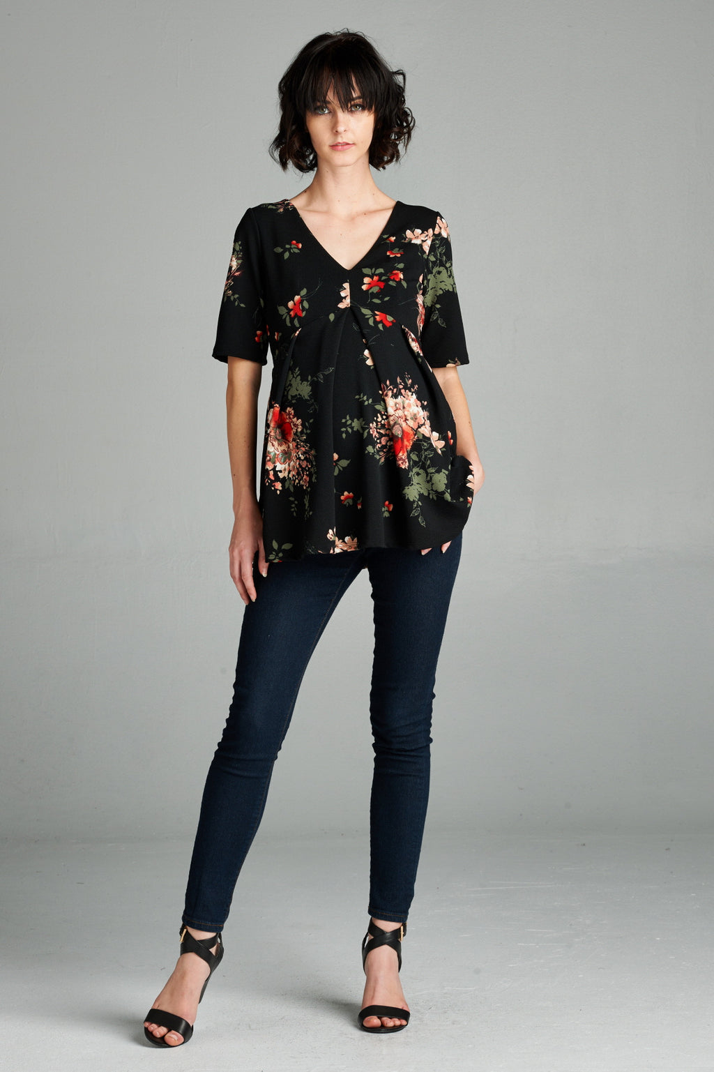 Floral Pleated Maternity Top