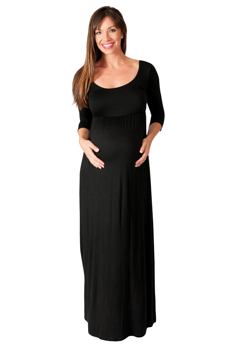 Solid Long Sleeve Maternity Maxi Dress