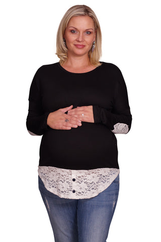 Lace Patchwork Plus Maternity Sweater