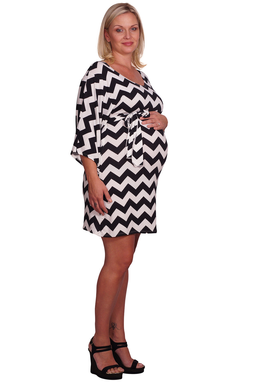 Black Belted Plus Maternity Dress