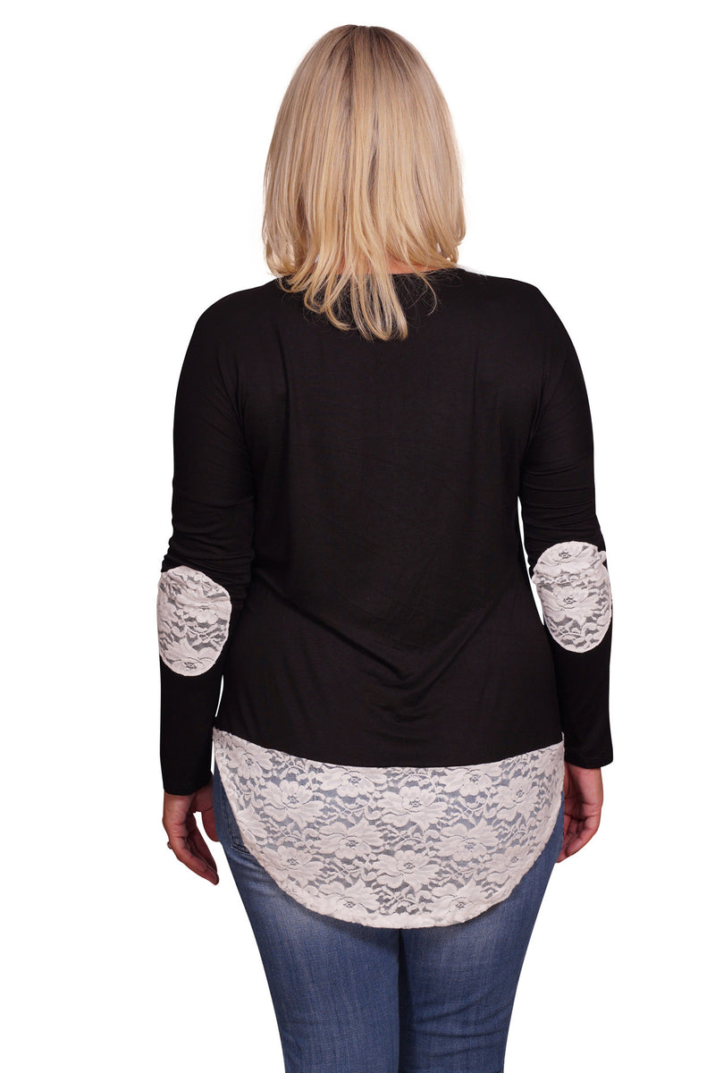 Lace Patchwork Plus Maternity Sweater - Mommylicious