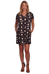Geometric Invisible Pocket Maternity Dress