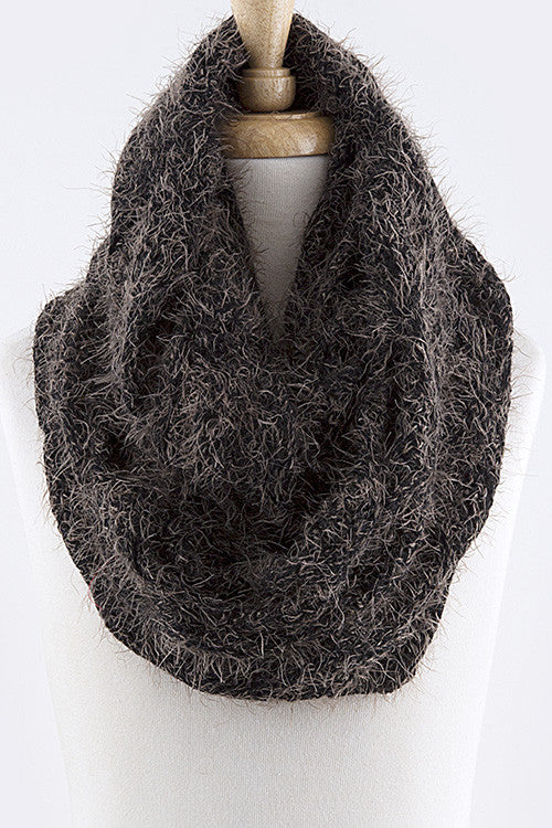 2-Tone Fluffy Winter Infinity Scarf - Mommylicious