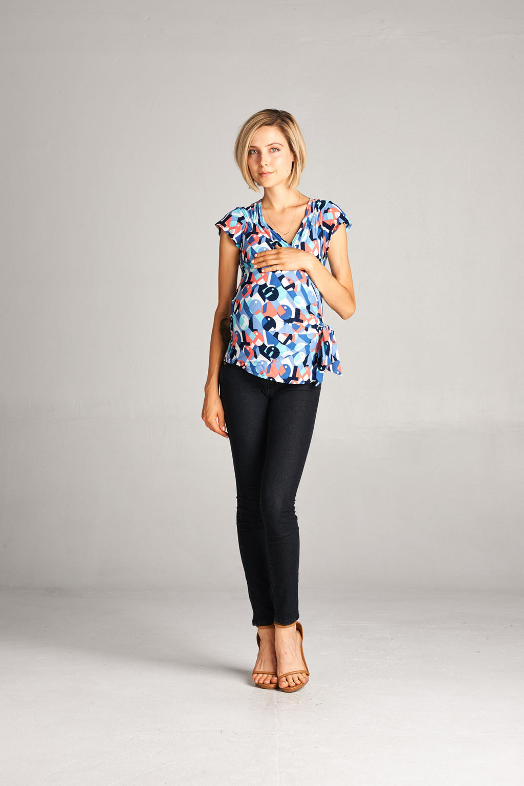 Geometric Front- Wrap Maternity Top