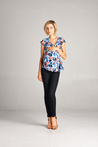 Geometric Wrap Maternity Top
