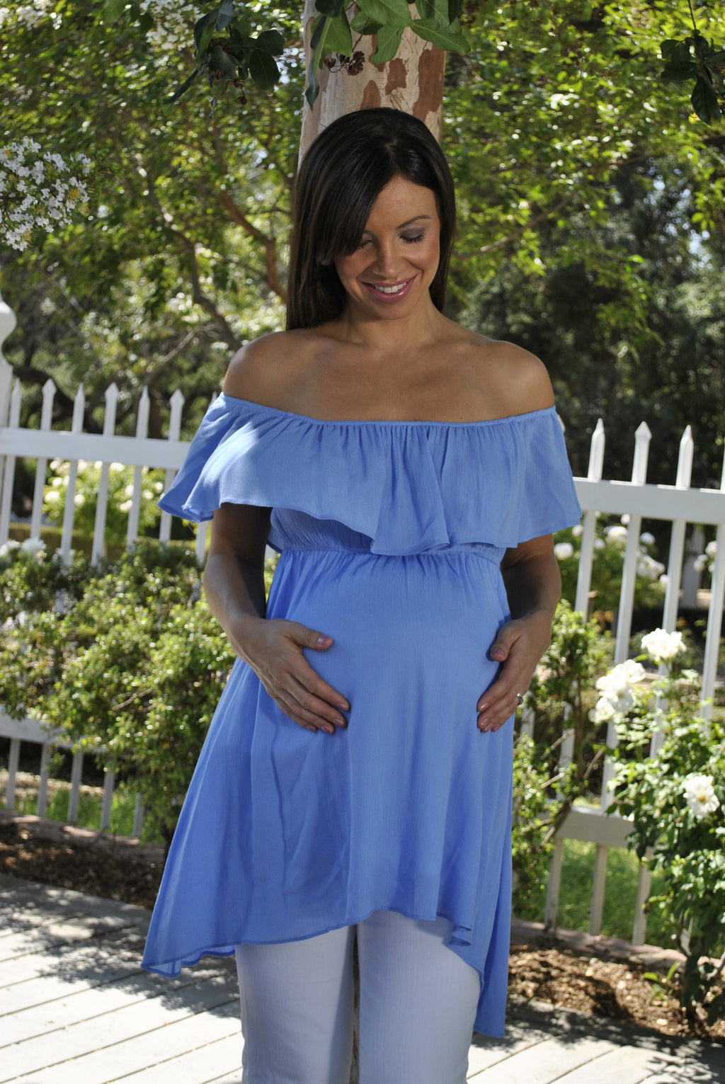 blue maternity tops