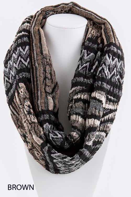 Chevron Floral Design Infinity Scarf