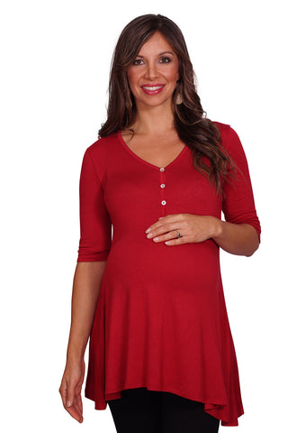 Button Down Trapeze Maternity & Nursing Top