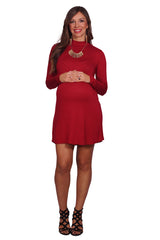 Long Sleeve Mock Neck Maternity Dress