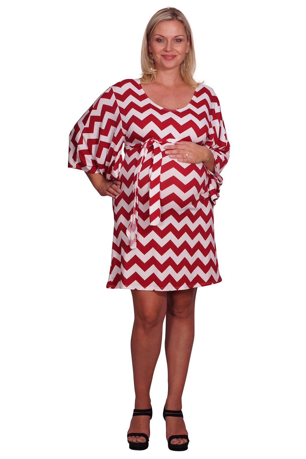 Red Belted Plus Maternity Dress - Mommylicious