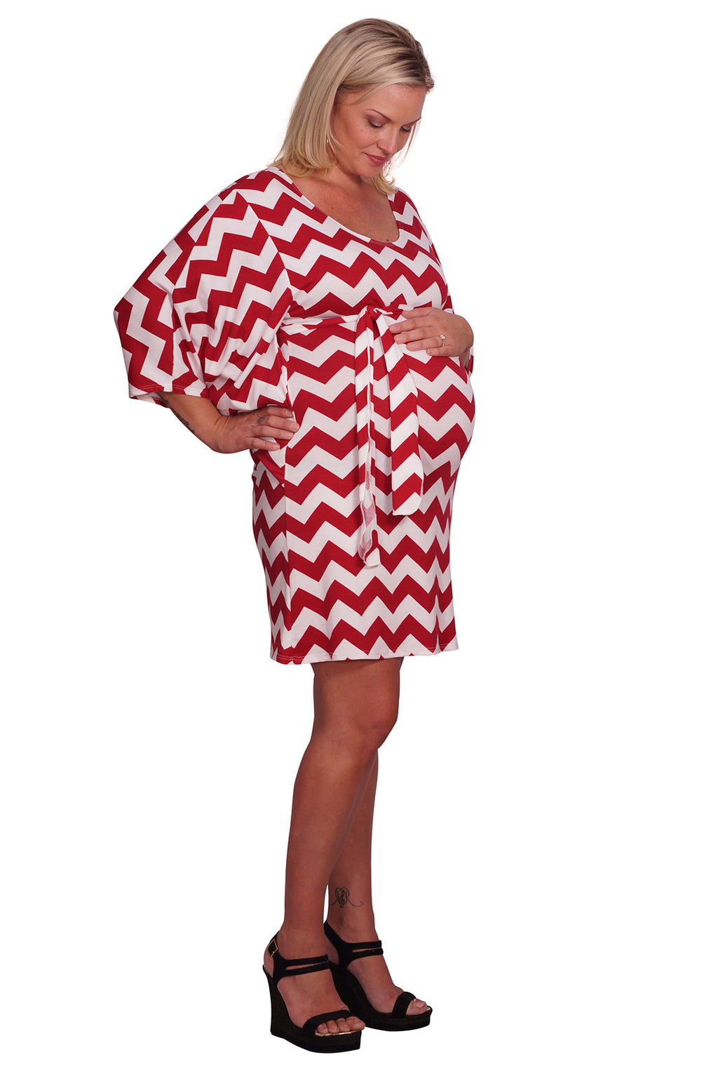 Red Belted Plus Maternity Dress