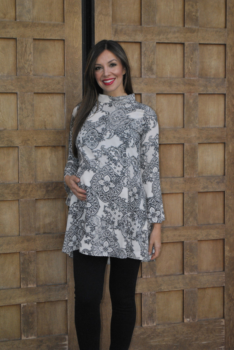 Bell Sleeve Printed Maternity Tunic - Mommylicious