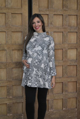 Bell Sleeve Printed Maternity Tunic