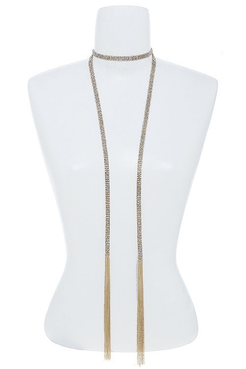 3 Row Mini Crystal Chain Mesh Scarf Necklace - Mommylicious