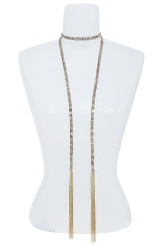 3 Row Mini Crystal Chain Mesh Scarf Necklace