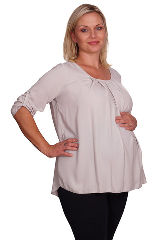 Women's Plus Size Solid Color Scoop Neck Top with Rollup Sleeves and Pleated Front