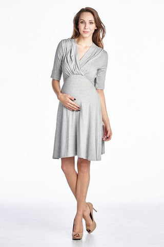 Grey Tie Back Maternity Dress