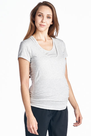 Heather Grey Scoop Neck Maternity & Nursing Top