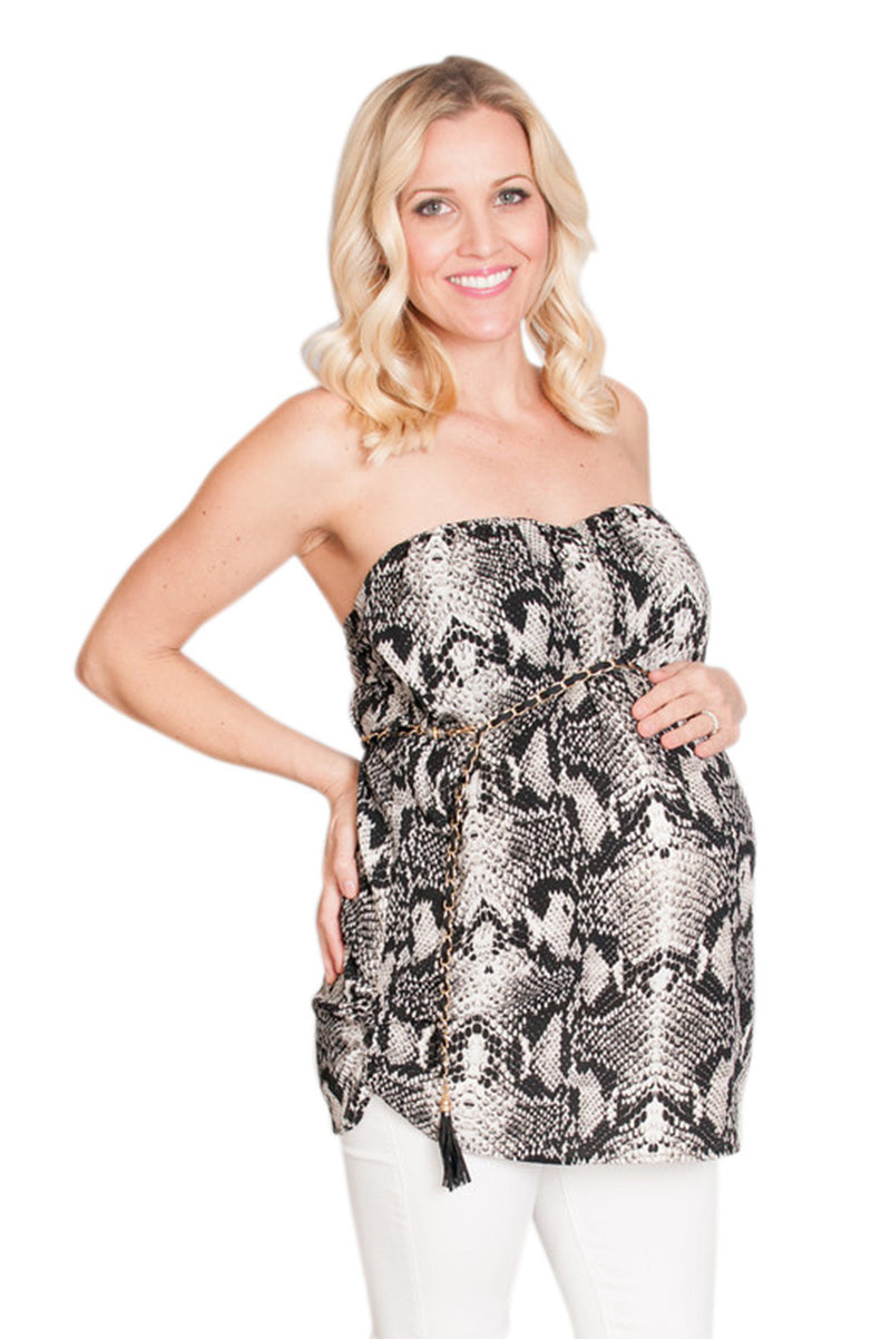 Strapless Snake Skin Maternity Top - Mommylicious