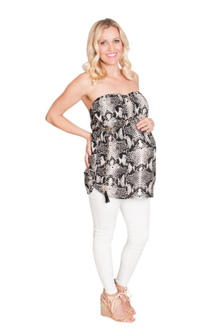 Strapless Snake Skin Maternity Top