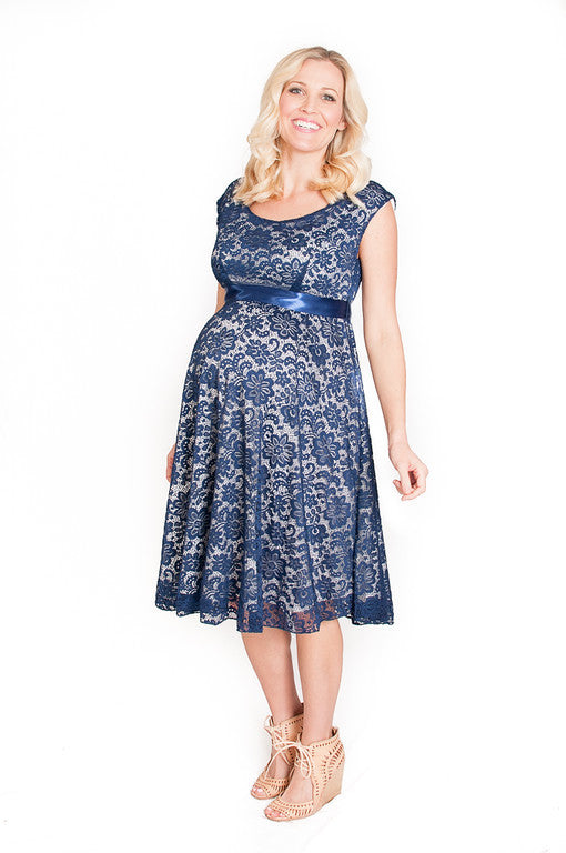 Navy Floral Lace Babydoll Dress - Mommylicious