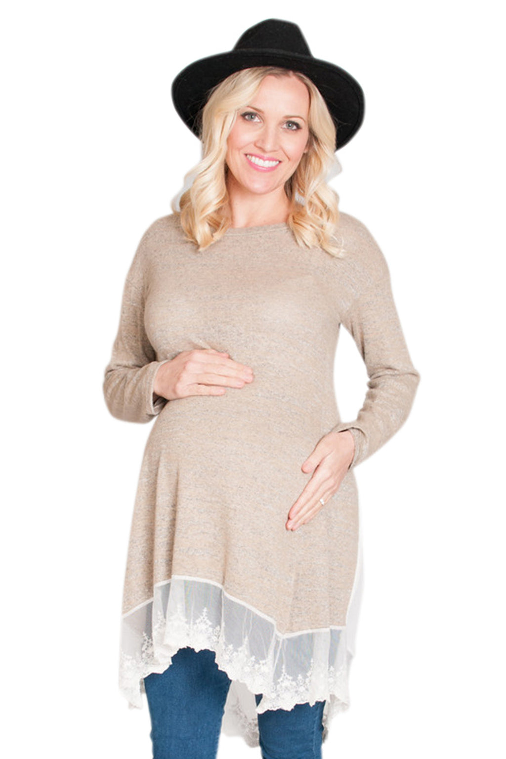 khaki maternity top