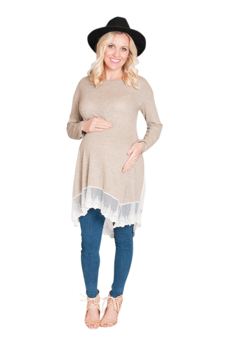 tan maternity shirt