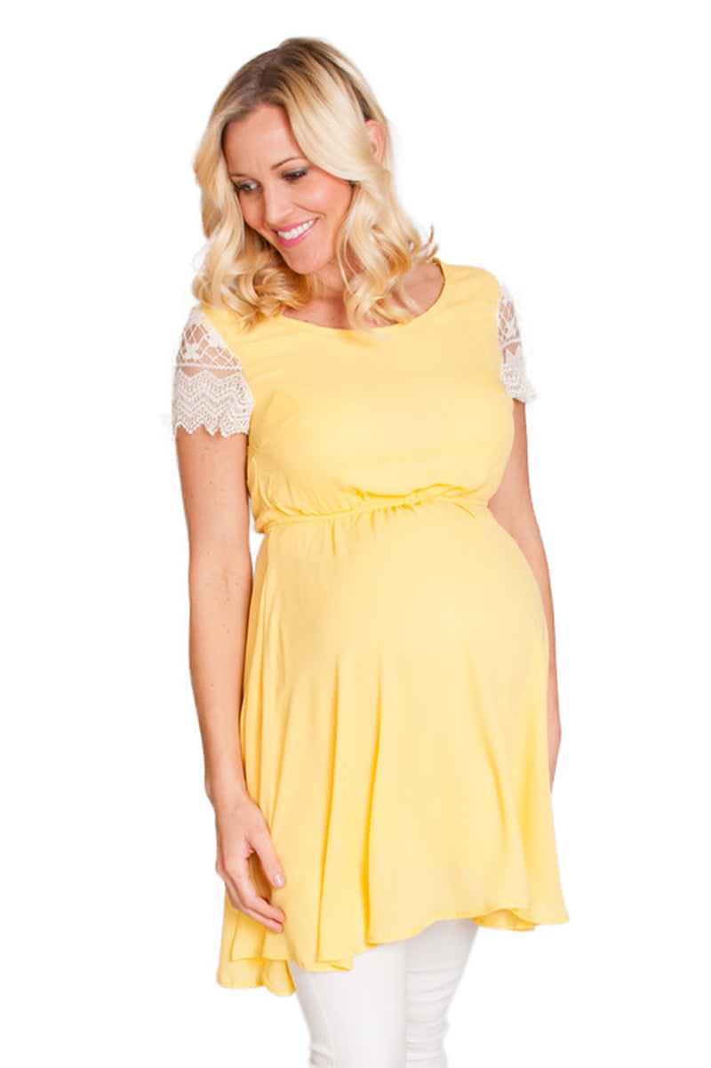 Yellow maternity tops
