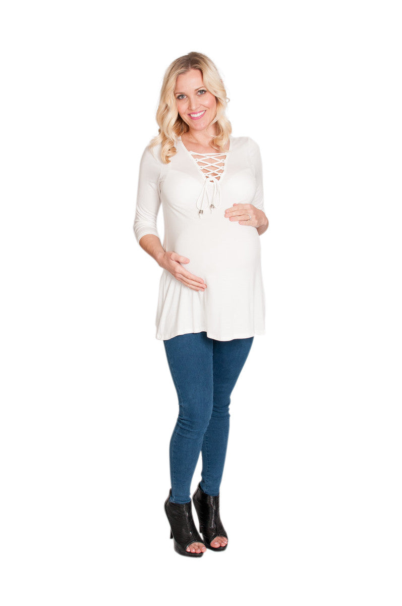 White Lace Me Up Maternity Top - Mommylicious