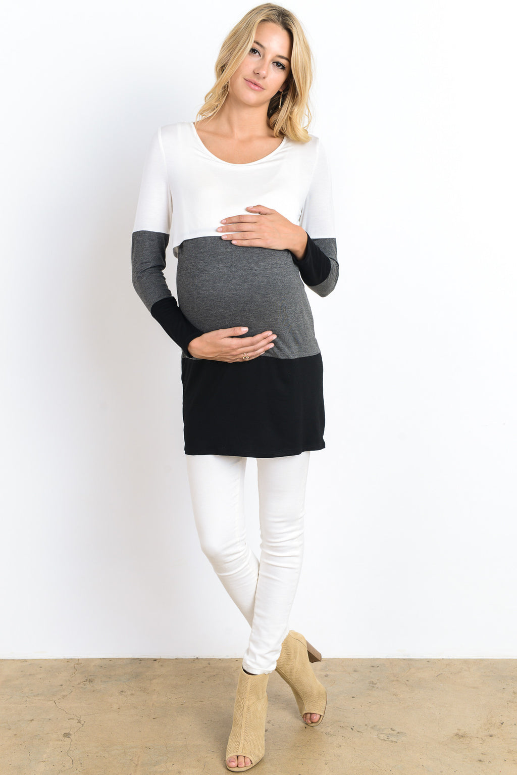 Color Block Nursing Tunic