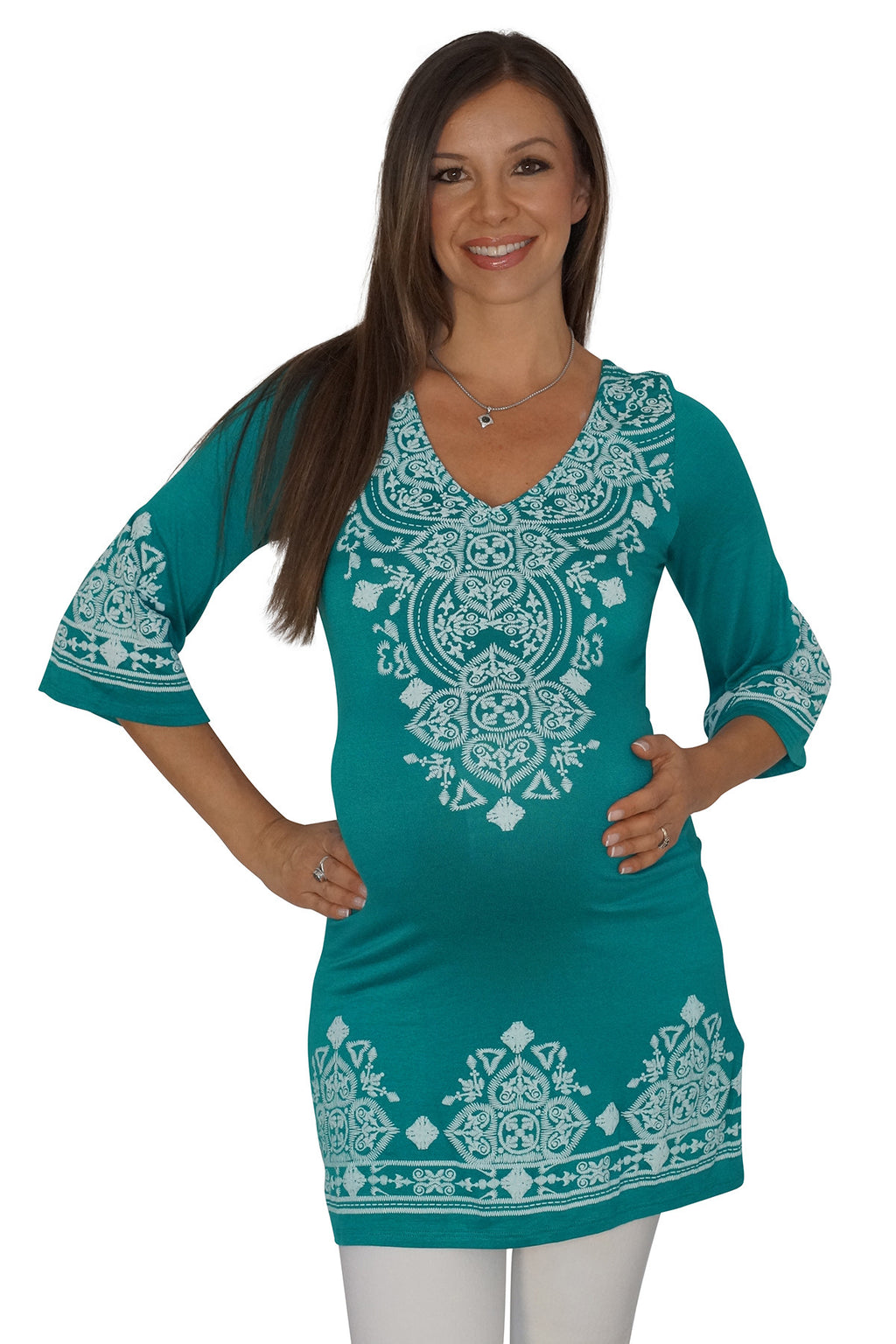 Patterned Maternity Tunic Top