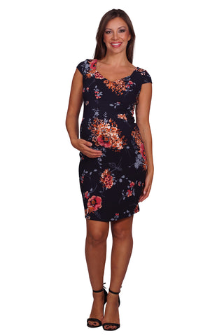 Floral Print Formal Maternity Dress
