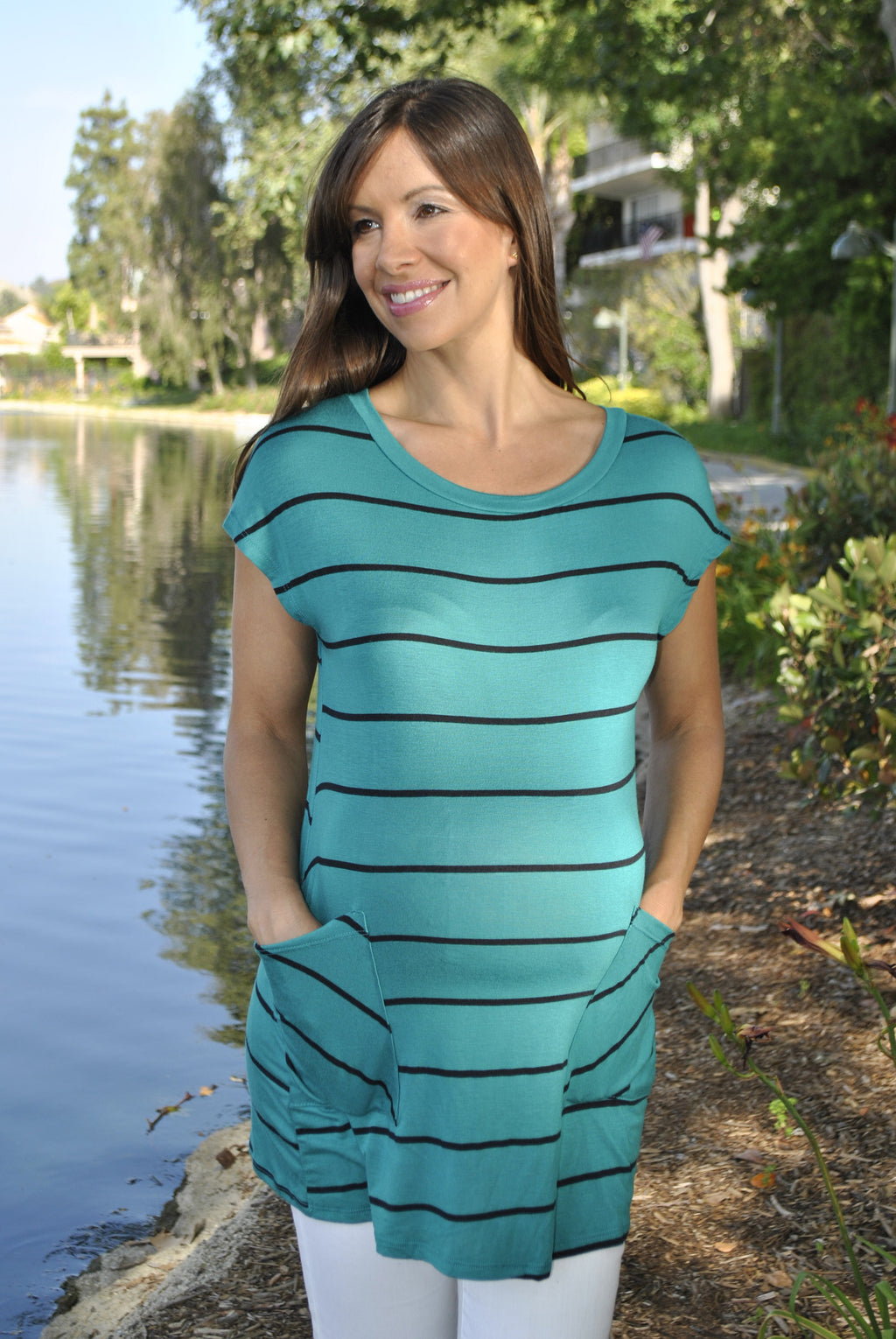 Striped Button Down Maternity Tunic - Mommylicious