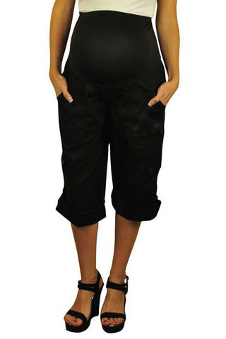 Maternity Capris - Black Cargo Shorts