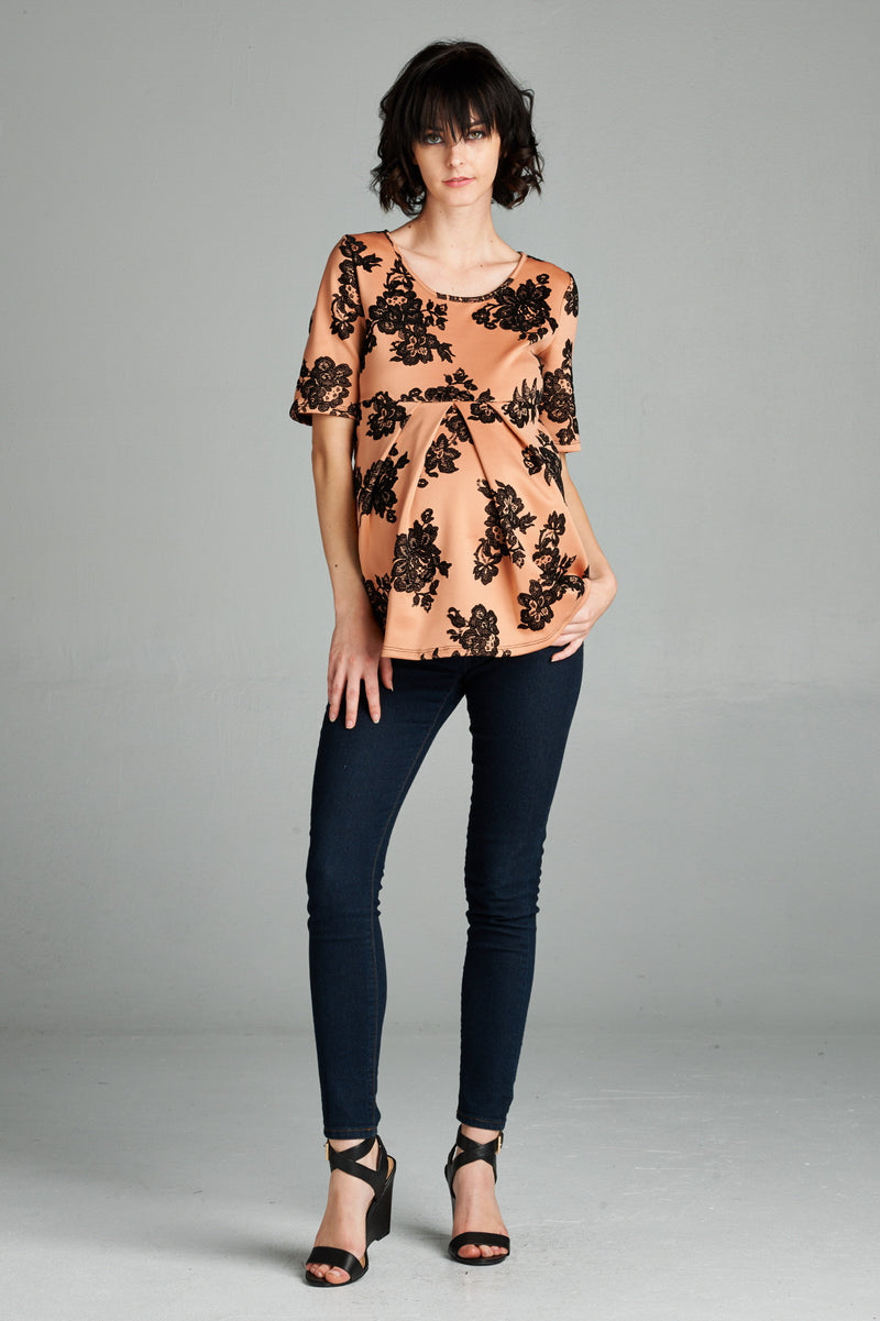Rose Pleated Floral Print Maternity Top - Mommylicious