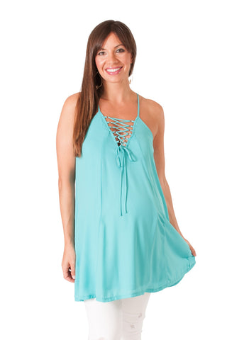 Mint Lace-Up Maternity Swing Tank