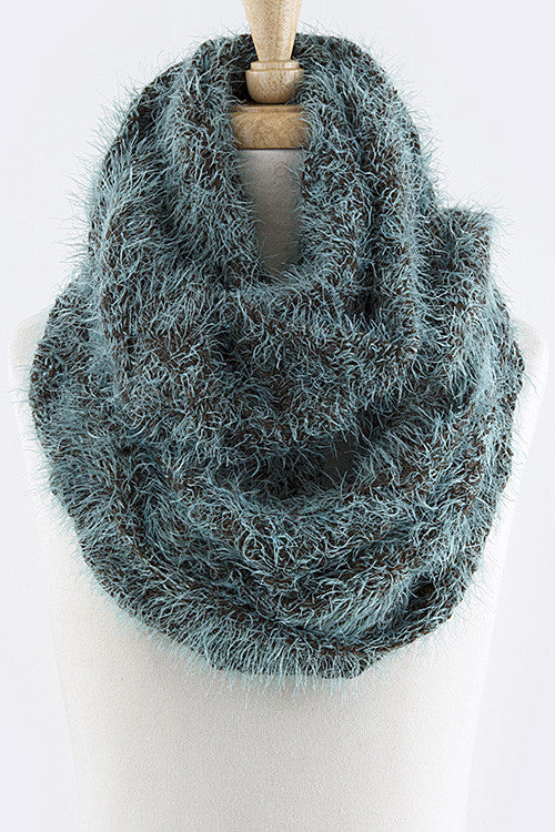2-Tone Fluffy Winter Infinity Scarf