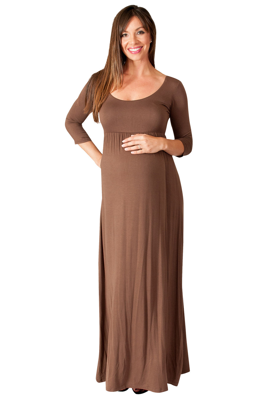 Solid Long Sleeve Maternity Maxi Dress - Mommylicious