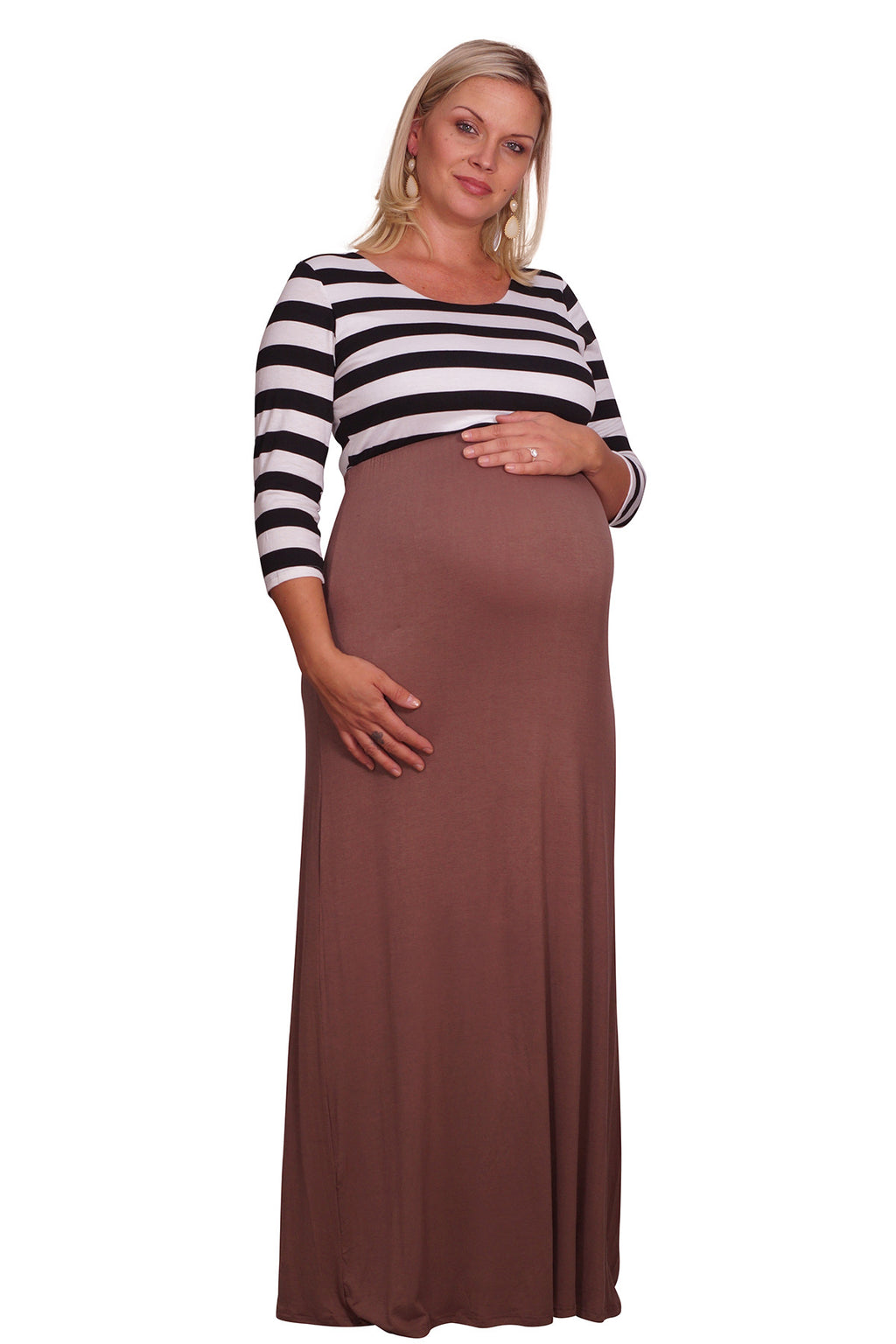 Striped and Solid Plus Maternity Maxi - Mommylicious