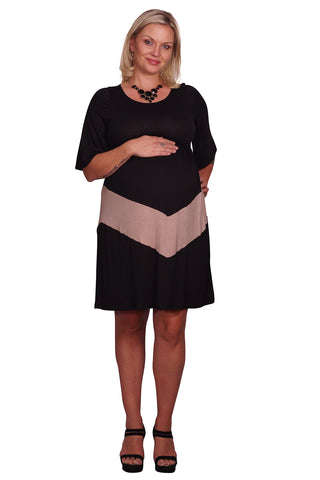 Chevron Print Plus Size Maternity Dress