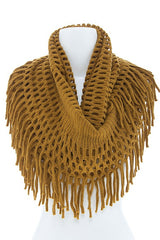 Long Fringe Accent Oversized Infinity Scarf