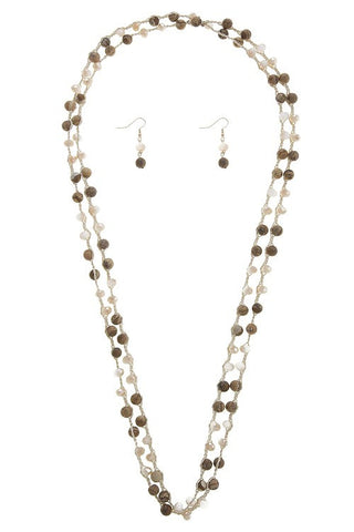 Semi Precious Stone Beaded Braided Necklace Set