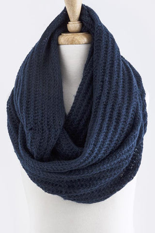 Navy Skinny Cable Knit Infinity Scarf