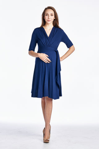 Navy Wrap Maternity Dress