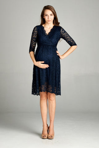 Scalloped Lace Formal Maternity Dress