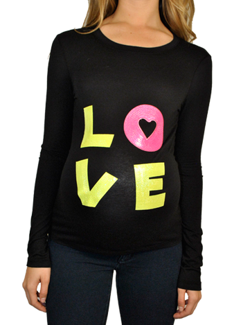 Neon Long Sleeves maternity T shirt