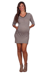 Rayon Stripe V Neck Pocket Dress